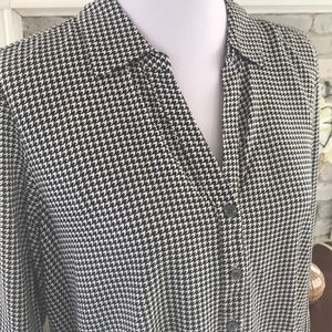 J.JILL Womens Blouse Top HOUNDSTOOTH Size M petite